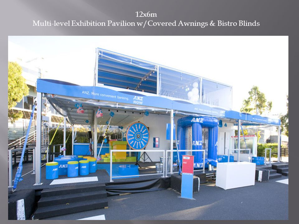 12x6m Multi-level Exhibition Pavilion w/Covered Awnings & Bistro Blinds