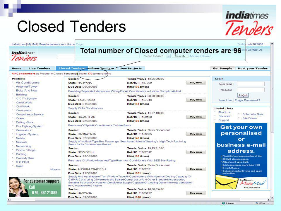 Closed Tenders Total number of Closed computer tenders are 96