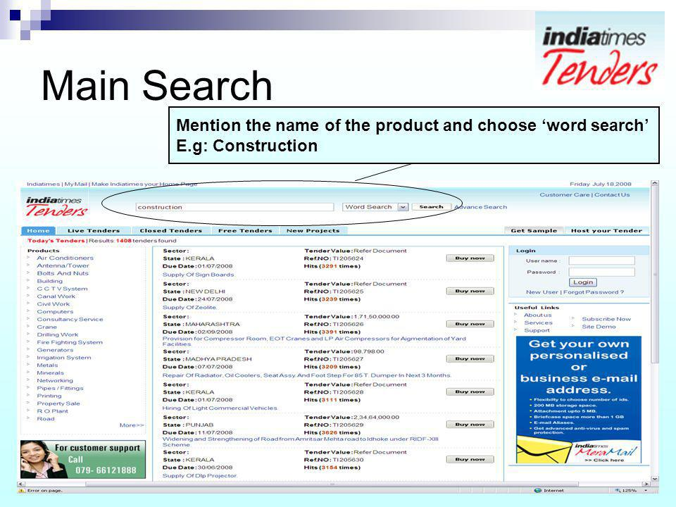Main Search Mention the name of the product and choose word search E.g: Construction