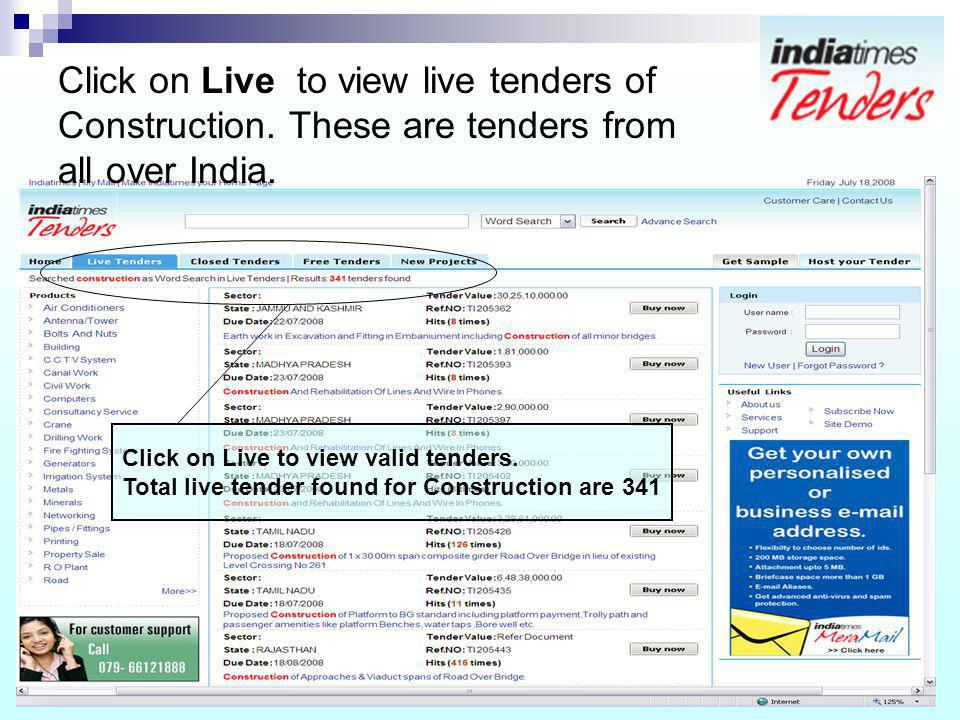 Click on Live to view live tenders of Construction. These are tenders from all over India. Click on Live to view valid tenders. Total live tender foun