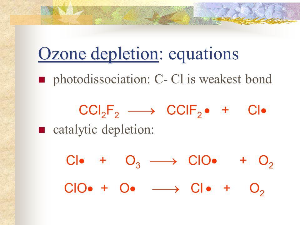 Ozone depletion Ozone depletion: equations photodissociation: C- Cl is weakest bond CCl 2 F 2 CClF 2 + Cl catalytic depletion: Cl + O 3 ClO + O 2 ClO