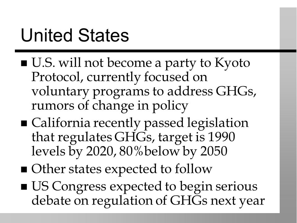 United States U.S. will not become a party to Kyoto Protocol, currently focused on voluntary programs to address GHGs, rumors of change in policy Cali