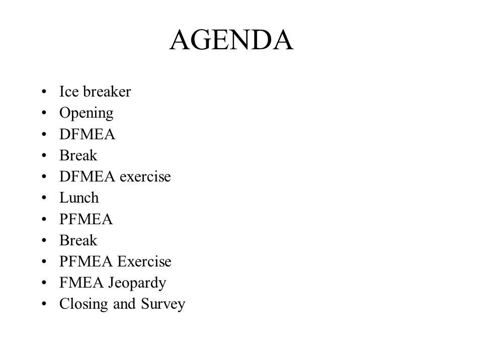 AGENDA Ice breaker Opening DFMEA Break DFMEA exercise Lunch PFMEA Break PFMEA Exercise FMEA Jeopardy Closing and Survey