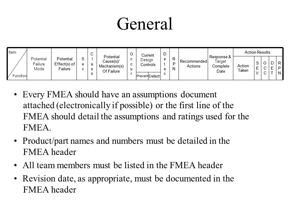 General Every FMEA should have an assumptions document attached (electronically if possible) or the first line of the FMEA should detail the assumptio
