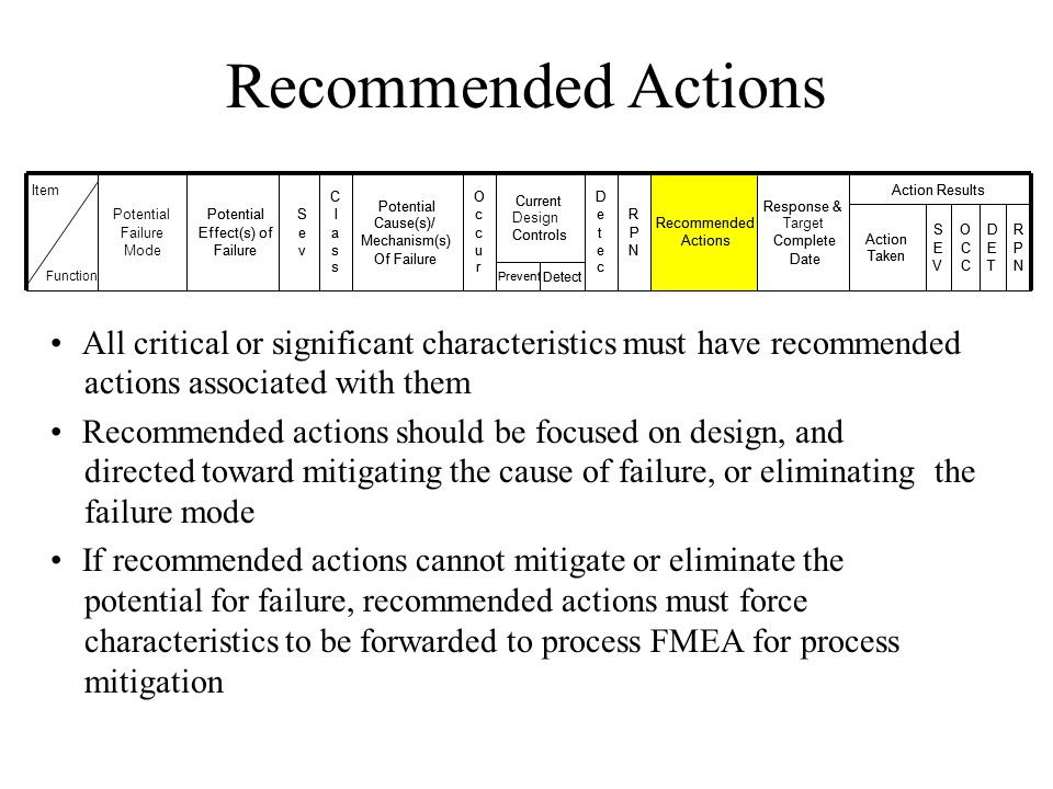 Recommended Actions All critical or significant characteristics must have recommended actions associated with them Recommended actions should be focus
