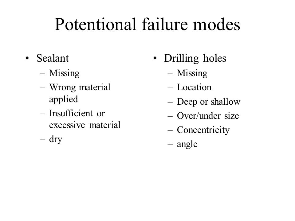 Potentional failure modes Sealant –Missing –Wrong material applied –Insufficient or excessive material –dry Drilling holes –Missing –Location –Deep or
