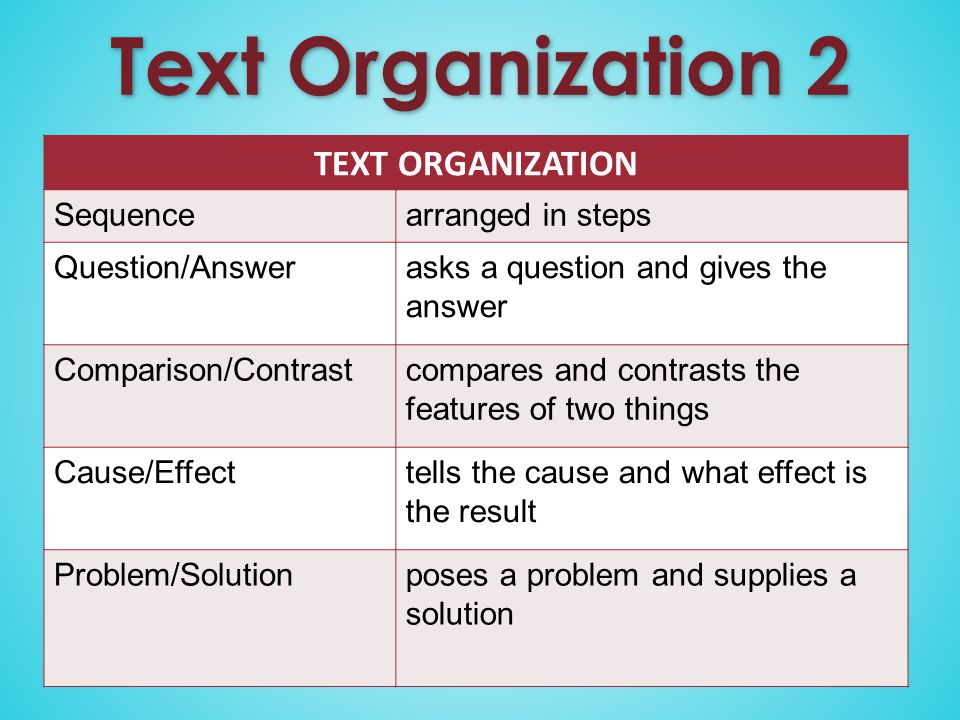 Text Organization 2 TEXT ORGANIZATION Sequencearranged in steps Question/Answerasks a question and gives the answer Comparison/Contrastcompares and contrasts the features of two things Cause/Effecttells the cause and what effect is the result Problem/Solution poses a problem and supplies a solution