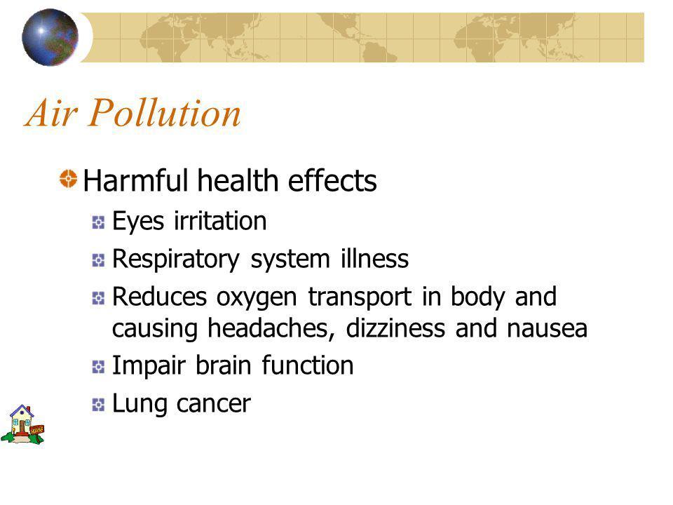 Air Pollution Pollutants Total Suspended Particulates (TSP) Sulphur dioxide (SO 2 ) Carbon Monoxide, Carbon dioxide (CO,CO 2 ) Nitrogen oxides (NOx - NO, NO 2 ) Ozone (O 3 ) – Secondary Pollutant