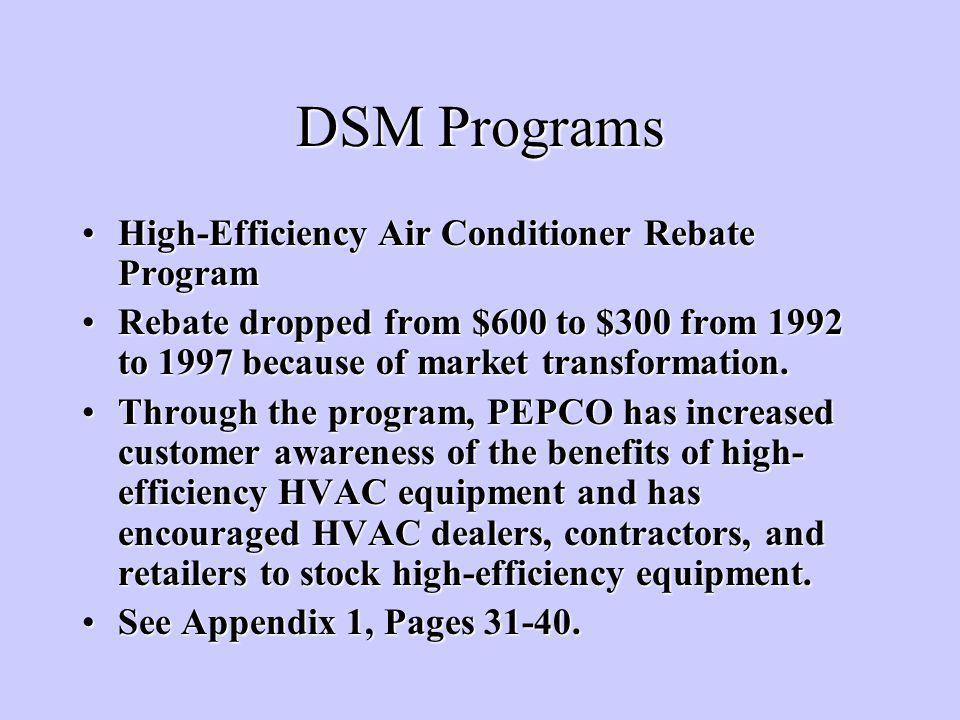 DSM Programs High-Efficiency Air Conditioner Rebate ProgramHigh-Efficiency Air Conditioner Rebate Program Rebate dropped from $600 to $300 from 1992 to 1997 because of market transformation.Rebate dropped from $600 to $300 from 1992 to 1997 because of market transformation.
