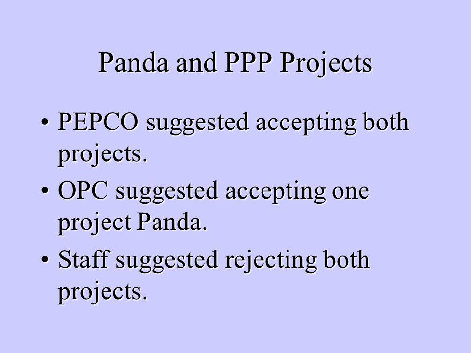 Panda and PPP Projects PEPCO suggested accepting both projects.PEPCO suggested accepting both projects.