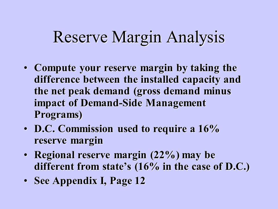 Reserve Margin Analysis Compute your reserve margin by taking the difference between the installed capacity and the net peak demand (gross demand minus impact of Demand-Side Management Programs)Compute your reserve margin by taking the difference between the installed capacity and the net peak demand (gross demand minus impact of Demand-Side Management Programs) D.C.