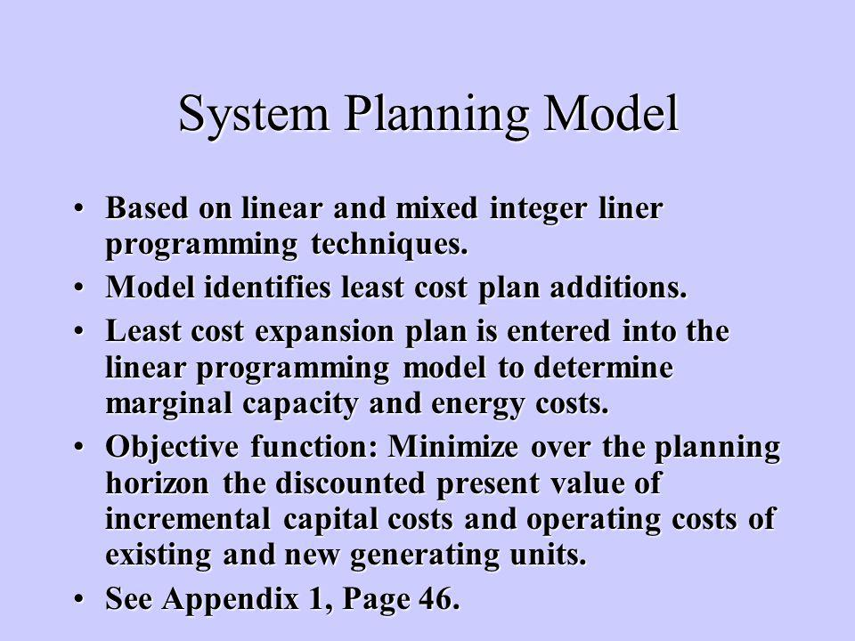 System Planning Model Based on linear and mixed integer liner programming techniques.Based on linear and mixed integer liner programming techniques.