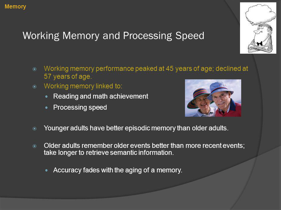 Working Memory and Processing Speed Working memory performance peaked at 45 years of age; declined at 57 years of age. Working memory linked to: Readi