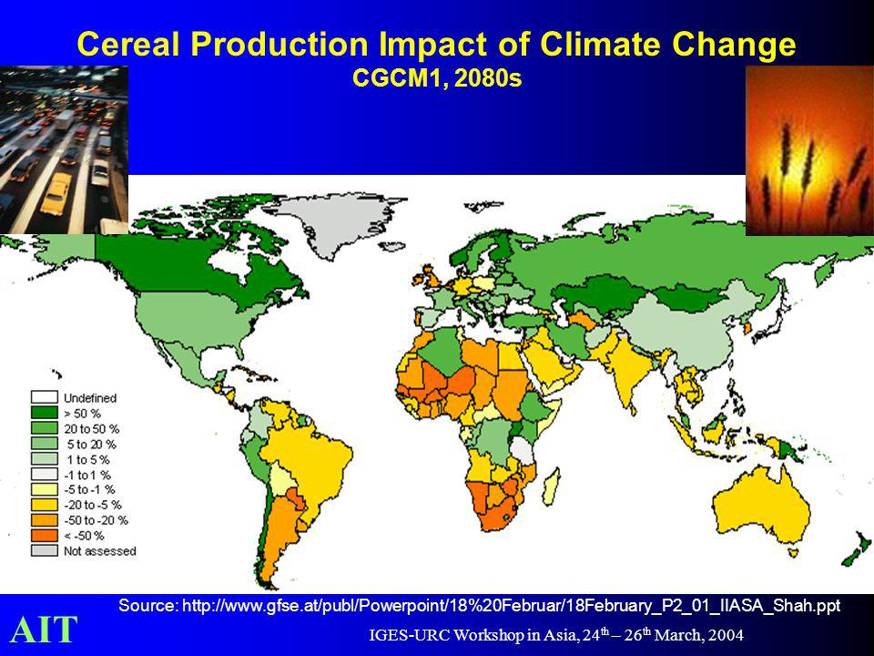 AIT IGES-URC Workshop in Asia, 24 th – 26 th March, 2004 Cereal Production Impact of Climate Change CGCM1, 2080s Source: http://www.gfse.at/publ/Powerpoint/18%20Februar/18February_P2_01_IIASA_Shah.ppt