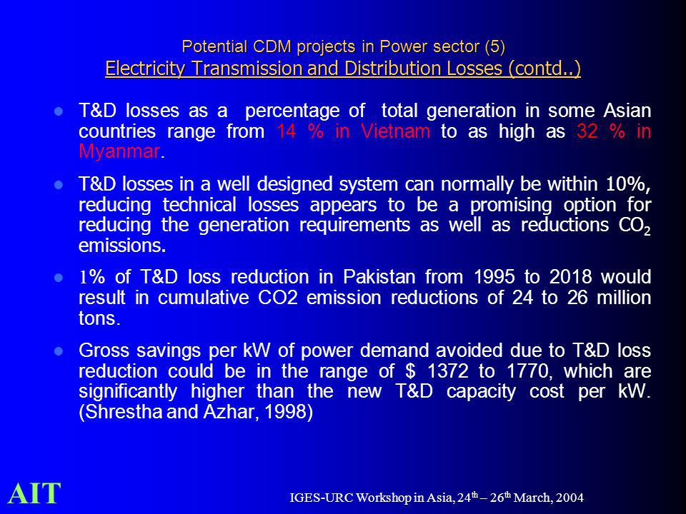 AIT IGES-URC Workshop in Asia, 24 th – 26 th March, 2004 Potential CDM projects in Power sector (5) Electricity Transmission and Distribution Losses (contd..) T&D losses as a percentage of total generation in some Asian countries range from 14 % in Vietnam to as high as 32 % in Myanmar.
