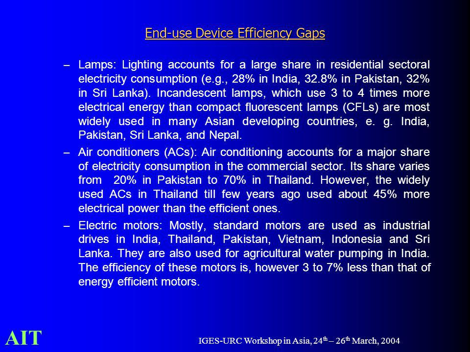 AIT IGES-URC Workshop in Asia, 24 th – 26 th March, 2004 End-use Device Efficiency Gaps – Lamps: Lighting accounts for a large share in residential se