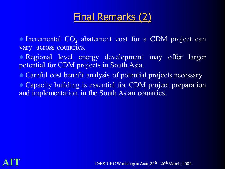 AIT IGES-URC Workshop in Asia, 24 th – 26 th March, 2004 Incremental CO 2 abatement cost for a CDM project can vary across countries. Regional level e