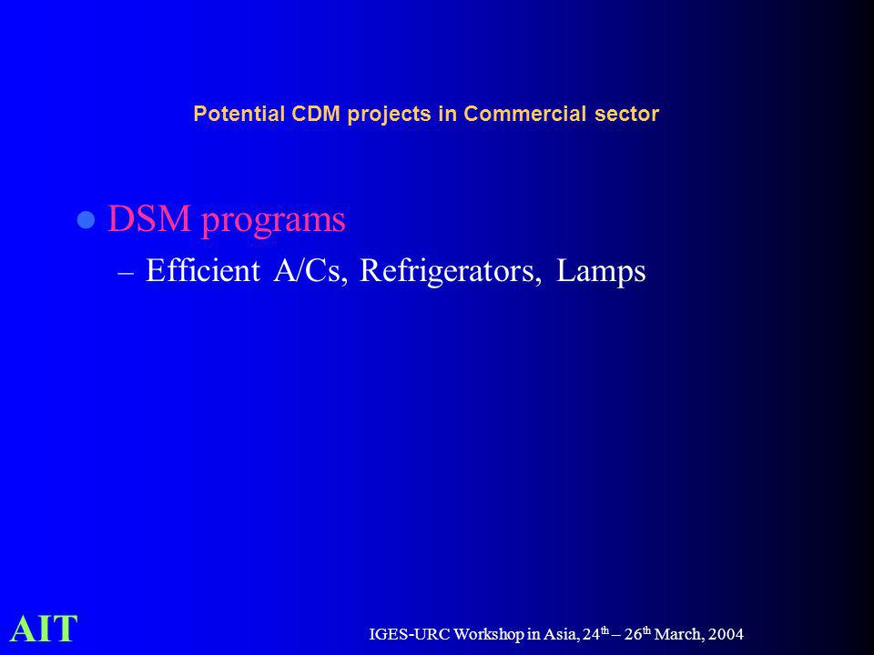 AIT IGES-URC Workshop in Asia, 24 th – 26 th March, 2004 Potential CDM projects in Commercial sector DSM programs – Efficient A/Cs, Refrigerators, Lamps