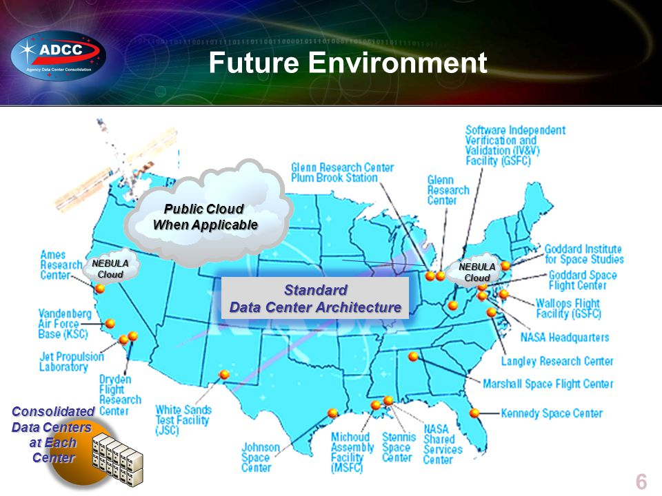 6 6 Future Environment Standard Data Center Architecture Consolidated Data Centers at Each Center NEBULACloud NEBULACloud Public Cloud When Applicable