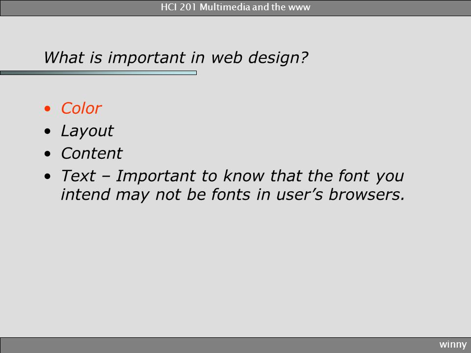 What is important in web design.