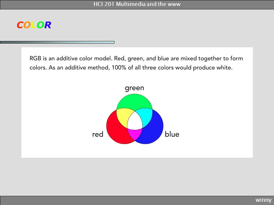 COLORCOLOR winny HCI 201 Multimedia and the www