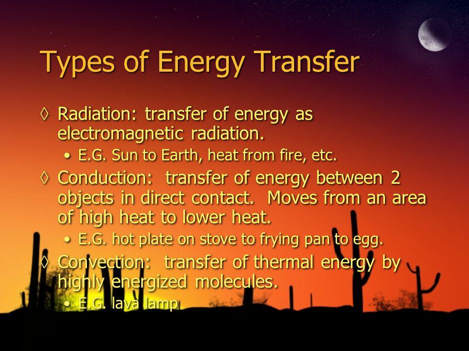 Types of Energy Transfer Radiation: transfer of energy as electromagnetic radiation.