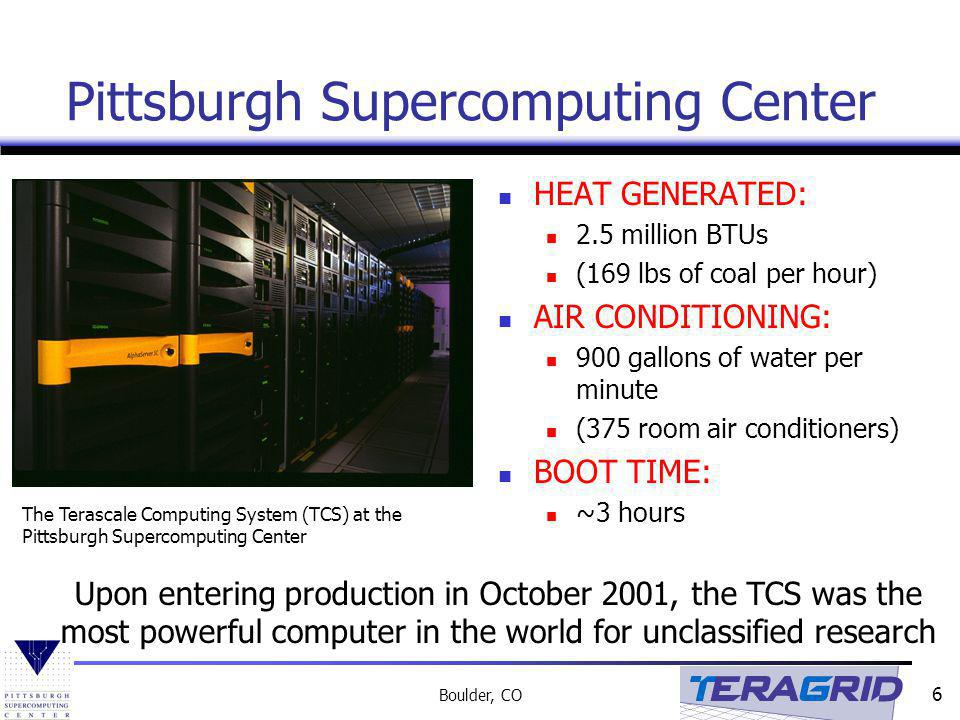 6 Boulder, CO Pittsburgh Supercomputing Center HEAT GENERATED: 2.5 million BTUs (169 lbs of coal per hour) AIR CONDITIONING: 900 gallons of water per minute (375 room air conditioners) BOOT TIME: ~3 hours The Terascale Computing System (TCS) at the Pittsburgh Supercomputing Center Upon entering production in October 2001, the TCS was the most powerful computer in the world for unclassified research