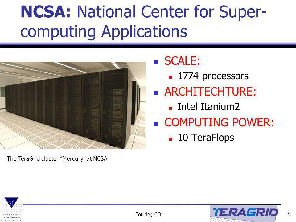 8 Boulder, CO NCSA: National Center for Super- computing Applications SCALE: 1774 processors ARCHITECHTURE: Intel Itanium2 COMPUTING POWER: 10 TeraFlops The TeraGrid cluster Mercury at NCSA