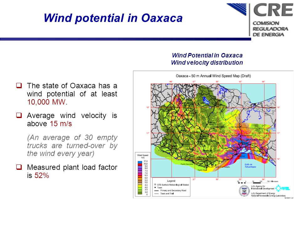 Wind potential in Oaxaca The state of Oaxaca has a wind potential of at least 10,000 MW. Average wind velocity is above 15 m/s (An average of 30 empty