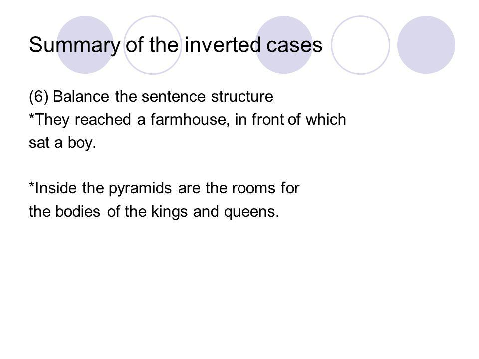 Summary of the inverted cases (6) Balance the sentence structure *They reached a farmhouse, in front of which sat a boy. *Inside the pyramids are the