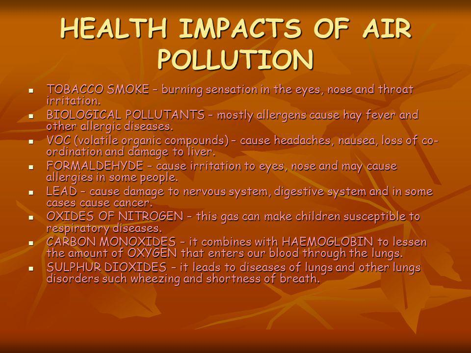 HEALTH IMPACTS OF AIR POLLUTION TOBACCO SMOKE – burning sensation in the eyes, nose and throat irritation. TOBACCO SMOKE – burning sensation in the ey