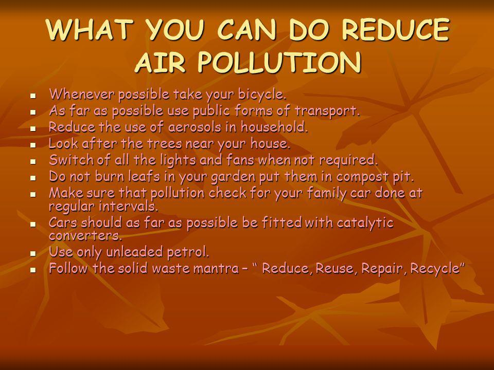 WHAT YOU CAN DO REDUCE AIR POLLUTION Whenever possible take your bicycle. Whenever possible take your bicycle. As far as possible use public forms of