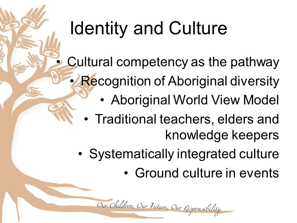 Cultural competency as the pathway Recognition of Aboriginal diversity Aboriginal World View Model Traditional teachers, elders and knowledge keepers Systematically integrated culture Ground culture in events