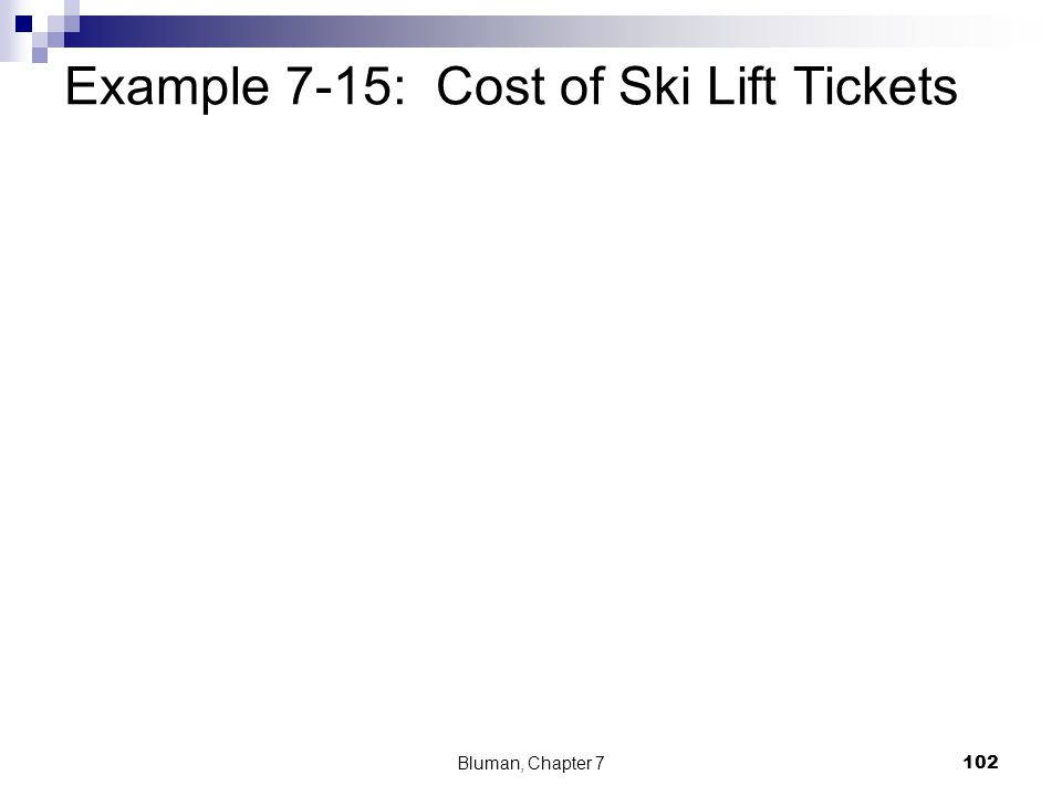 Example 7-15: Cost of Ski Lift Tickets Bluman, Chapter 7 102