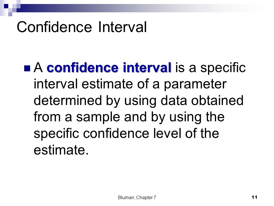 Confidence Interval confidence interval A confidence interval is a specific interval estimate of a parameter determined by using data obtained from a