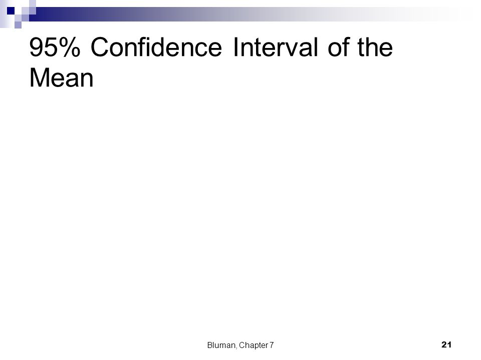 95% Confidence Interval of the Mean Bluman, Chapter 7 21