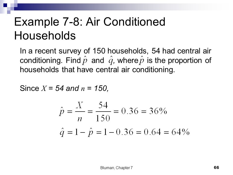 In a recent survey of 150 households, 54 had central air conditioning. Find and, where is the proportion of households that have central air condition