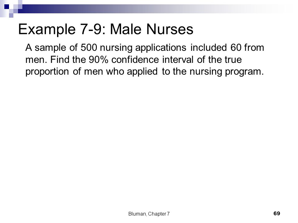 A sample of 500 nursing applications included 60 from men. Find the 90% confidence interval of the true proportion of men who applied to the nursing p