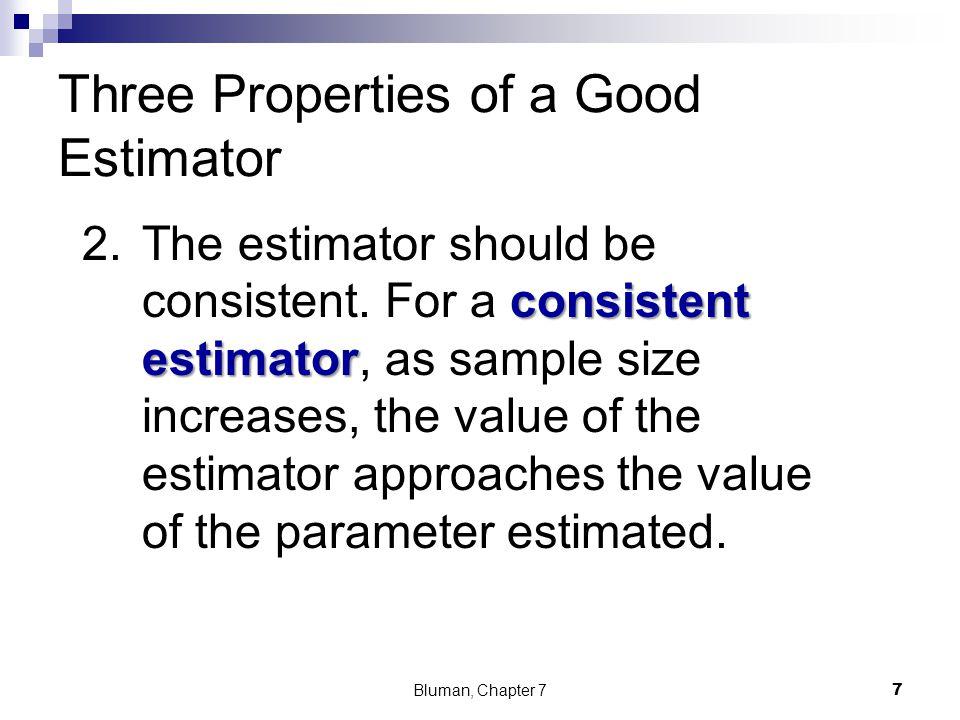 Three Properties of a Good Estimator consistent estimator 2.The estimator should be consistent. For a consistent estimator, as sample size increases,