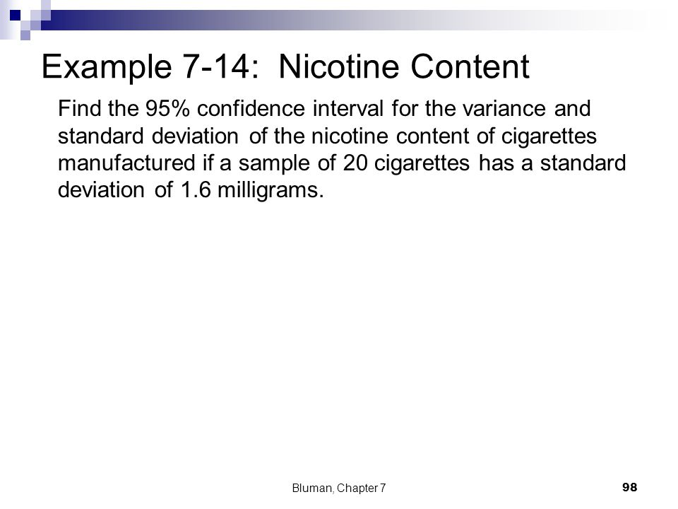 Find the 95% confidence interval for the variance and standard deviation of the nicotine content of cigarettes manufactured if a sample of 20 cigarett