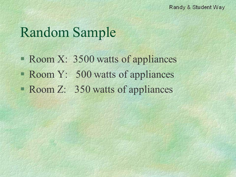 Random Sample §Room X: 3500 watts of appliances §Room Y: 500 watts of appliances §Room Z: 350 watts of appliances