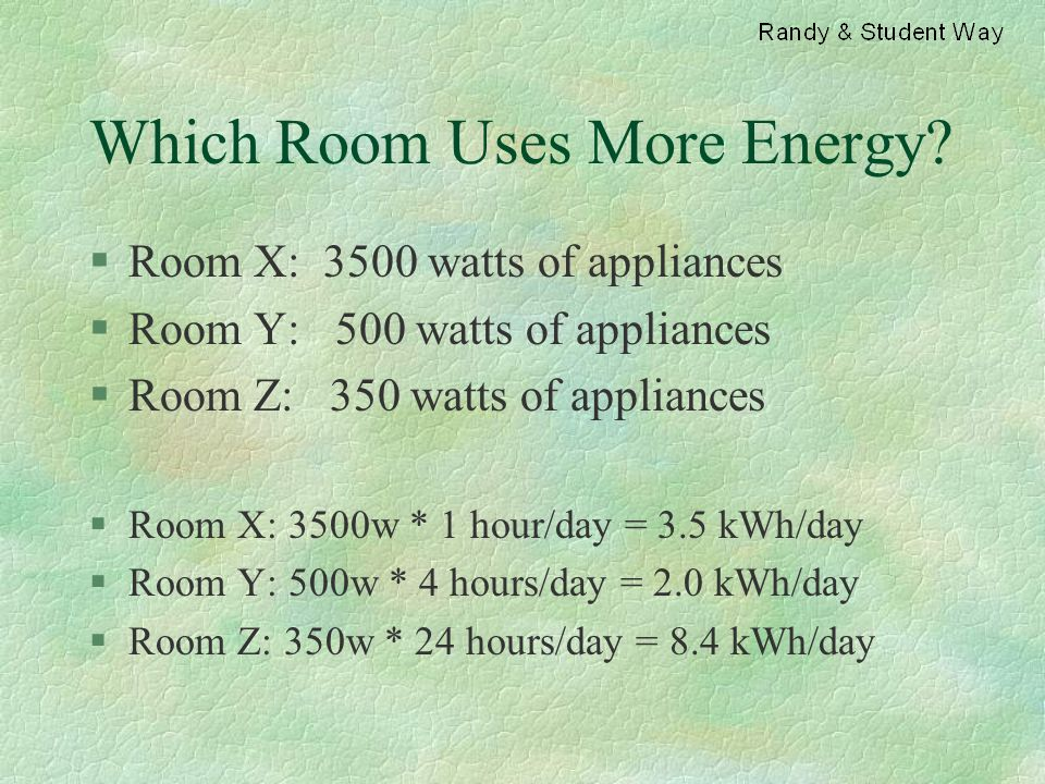 Which Room Uses More Energy? §Room X: 3500 watts of appliances §Room Y: 500 watts of appliances §Room Z: 350 watts of appliances §Room X: 3500w * 1 ho