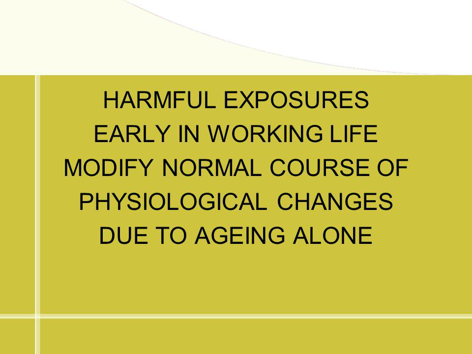 HARMFUL EXPOSURES EARLY IN WORKING LIFE MODIFY NORMAL COURSE OF PHYSIOLOGICAL CHANGES DUE TO AGEING ALONE