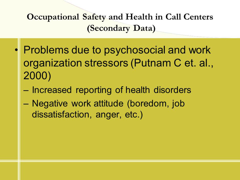 Occupational Safety and Health in Call Centers (Secondary Data) Problems due to psychosocial and work organization stressors (Putnam C et. al., 2000)