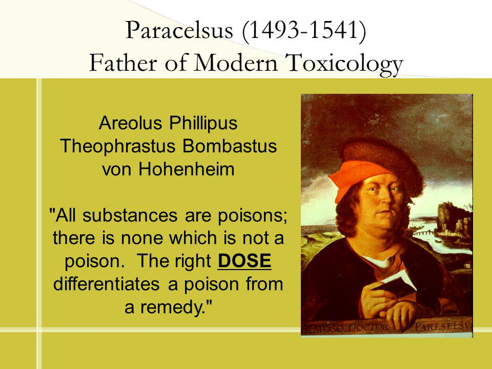 Paracelsus (1493-1541) Father of Modern Toxicology Areolus Phillipus Theophrastus Bombastus von Hohenheim All substances are poisons; there is none which is not a poison.
