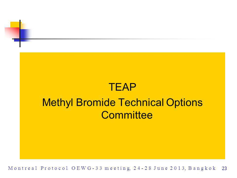 TEAP Methyl Bromide Technical Options Committee M o n t r e a l P r o t o c o l O E W G - 3 3 m e e t i n g, 2 4 - 2 8 J u n e 2 0 1 3, B a n g k o k 23
