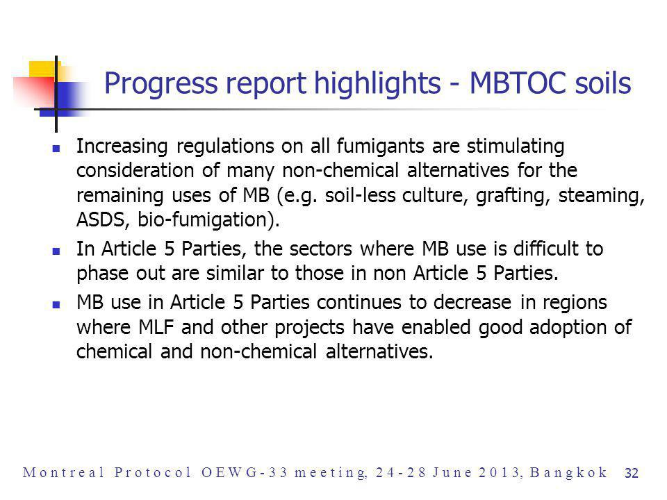 Progress report highlights - MBTOC soils Increasing regulations on all fumigants are stimulating consideration of many non-chemical alternatives for the remaining uses of MB (e.g.