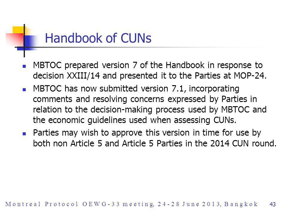 Handbook of CUNs MBTOC prepared version 7 of the Handbook in response to decision XXIII/14 and presented it to the Parties at MOP-24.