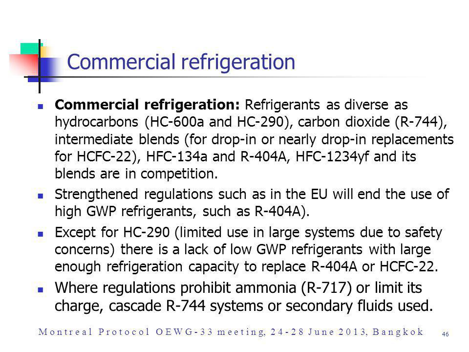 46 Commercial refrigeration Commercial refrigeration: Refrigerants as diverse as hydrocarbons (HC-600a and HC-290), carbon dioxide (R-744), intermediate blends (for drop-in or nearly drop-in replacements for HCFC-22), HFC-134a and R-404A, HFC-1234yf and its blends are in competition.