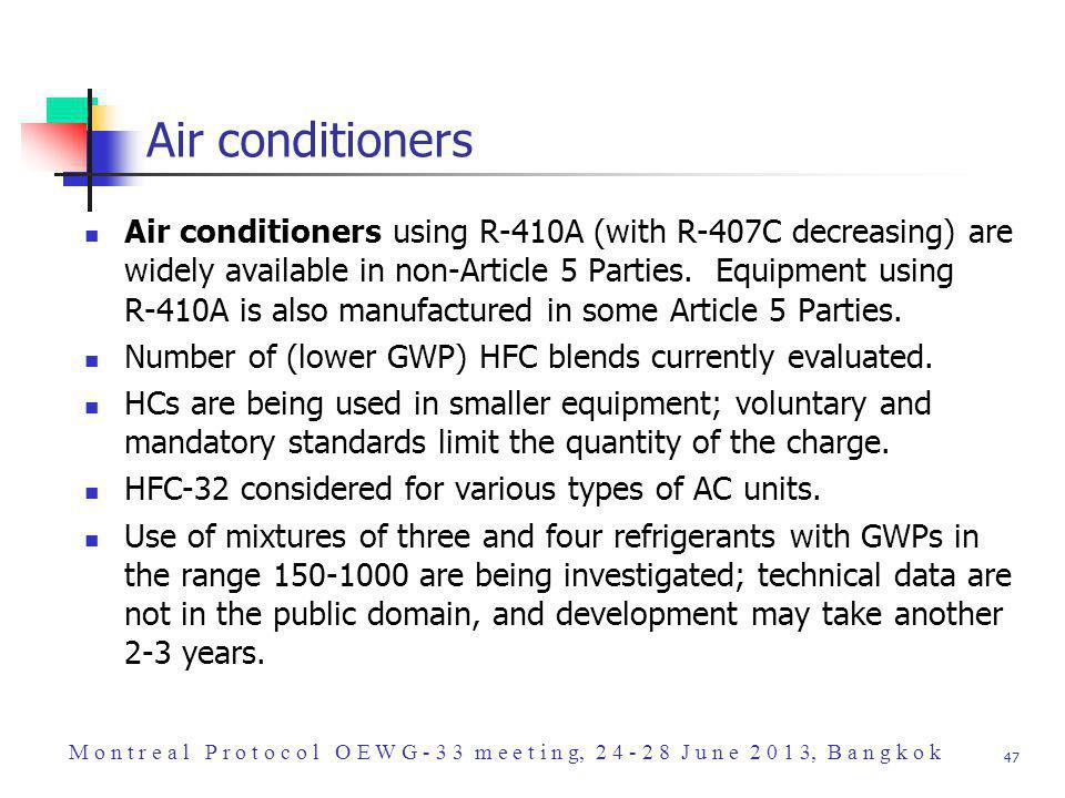47 Air conditioners Air conditioners using R-410A (with R-407C decreasing) are widely available in non-Article 5 Parties.